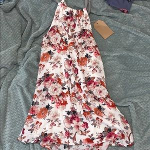 White Dress with red/pink/grey flowers